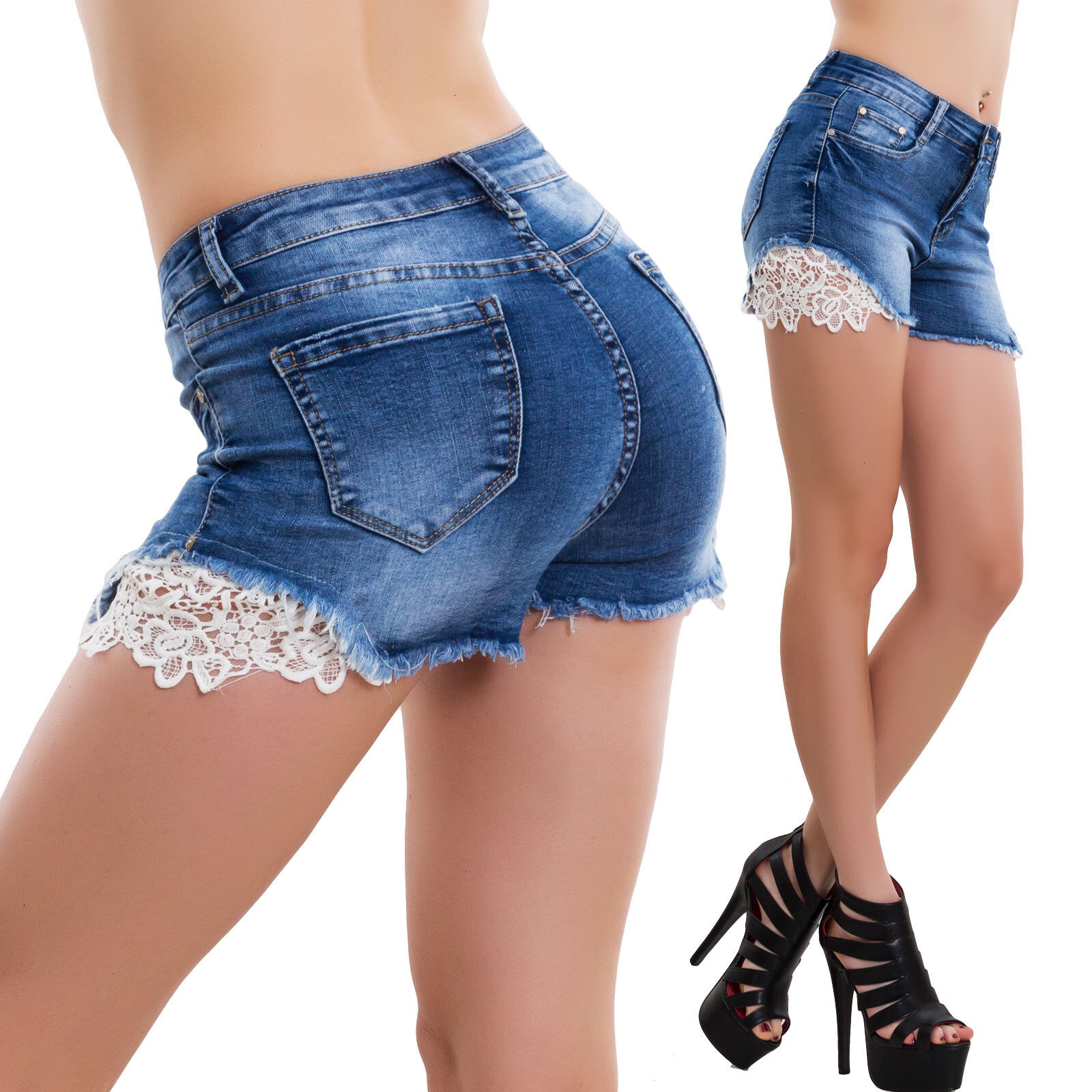 Pantalones Cortos Mujer Vaqueros Encaje Denim Shorts Hot Pitillo Ajustado W0381 Ebay