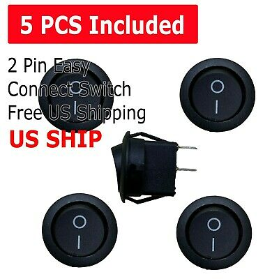 5pcs Round Rocker Switch Onoff Toggle Round Button Boat Car Auto Switch 12v Us