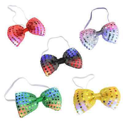 LED Flashing Light Up Sequin Bow Ties Costume Party Accessory Assorted - Light Up Bow Ties
