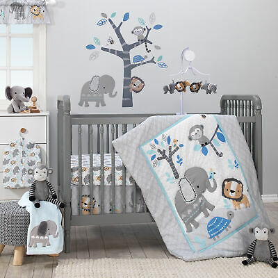 Decorative Bedtime Jungle Fun 3 Piece Boy Crib Bedding Set Blue Gray White
