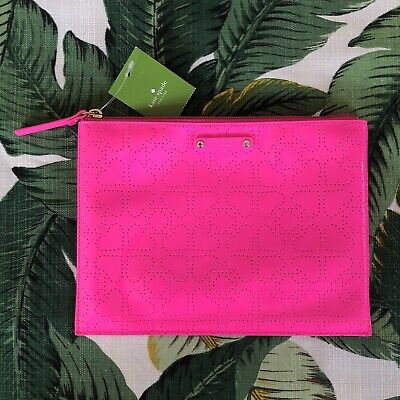 NWT Kate Spade Metro Large Pouch Clutch Cosmetic Bag Hot Pink - See Description
