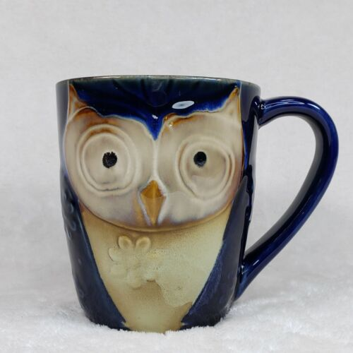 OWL Coffee Tea Mug Navy Blue Elite Couture by Gibson Large Pottery Cup Ceramic