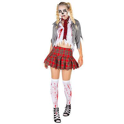 dchen Kostüm Halloween Fasching Karneval Horror Damen  (Zombie Schulmädchen Halloween)