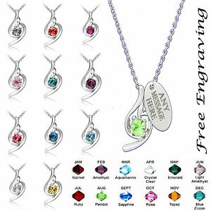 Personalised engraved Birthstone Necklace Jewellery ...