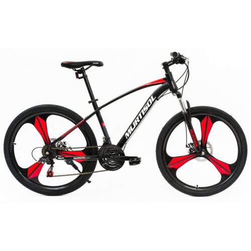 "26"" Full Wheel Mountain Bike Bicycle 21 Speeds Front Suspension Disc Brakes Red"