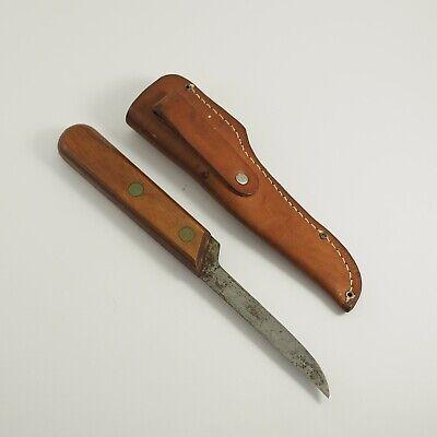 Vintage OLSEN OK BRAND Fixed Blade Knife & Sheath Howard City USA /g