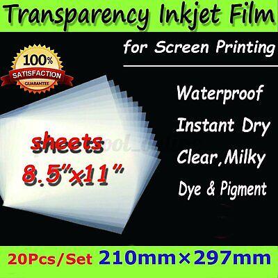 Impermeable Inkjet Seda Impresión Transparencia Película, 20 Hojas C