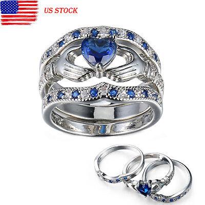 3PCS Irish Claddagh Heart Amethyst Silver Wedding Ring Bridal Set US