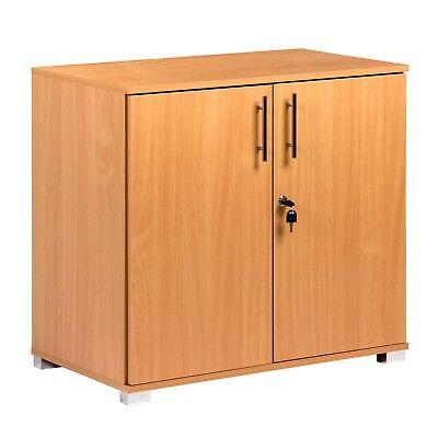 Beech Filing cabinet desk height lockable two door storage cupboard office home