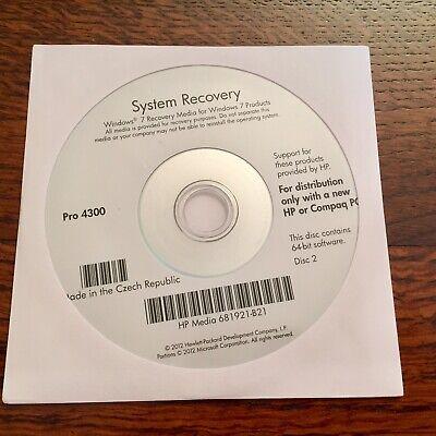 HP Pavilion p6715f Factory Recovery Media 3-Disc Set Windows 7 64-bit