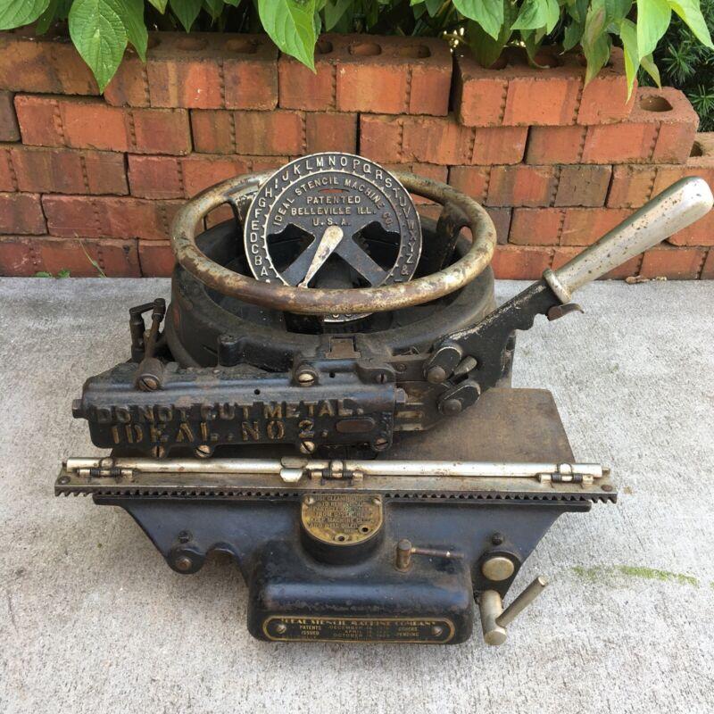 Antique Ideal Stencil Machine Cutter Parts Patent 1923 Cast-Iron Belleville IL