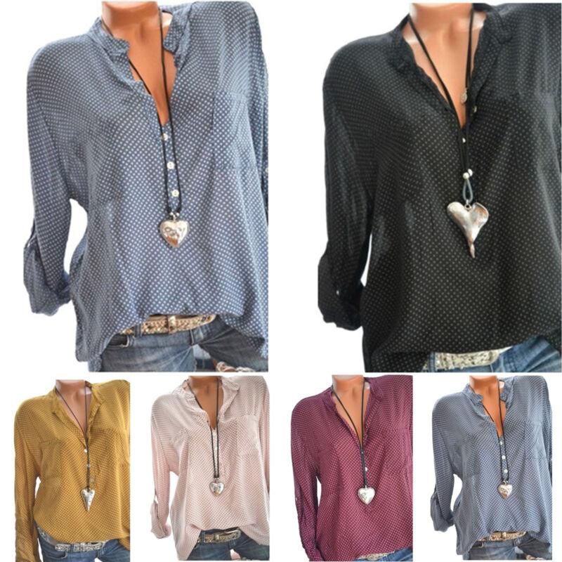 Damen Langarm Hemd Bluse Freizeit Locker Oberteil Top Shirt Fischerhemd GR.34-48