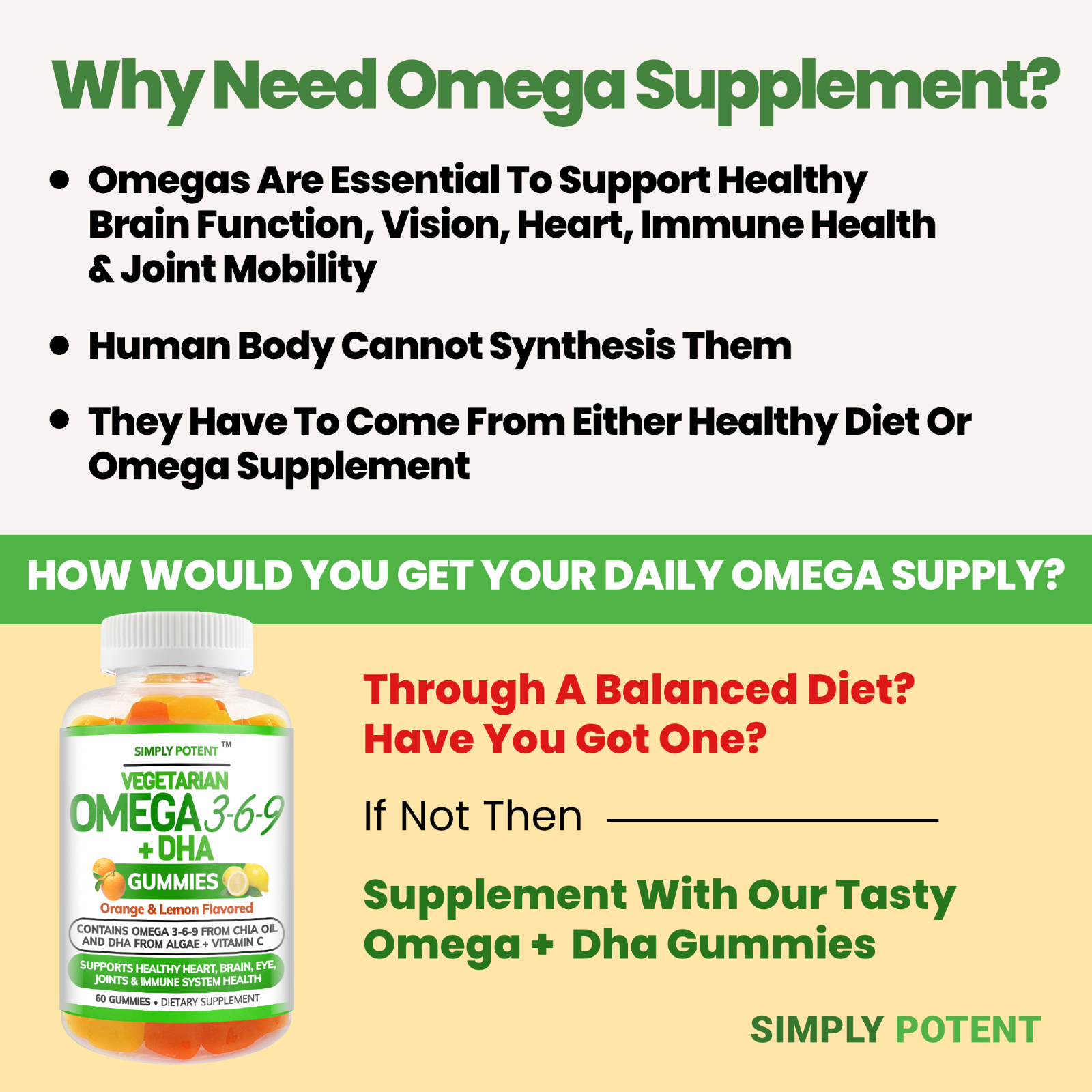 Omega 3 6 9 + DHA + Vitamin C Fish-Free Gummies for Brain, Heart, Joint Support 2