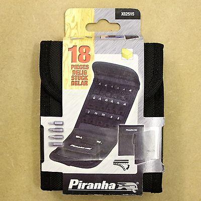 PIRANHA X62515 18 PIECE SCREWDRIVER BIT SET IN STORAGE WALLET PZ PH TORX SLOT