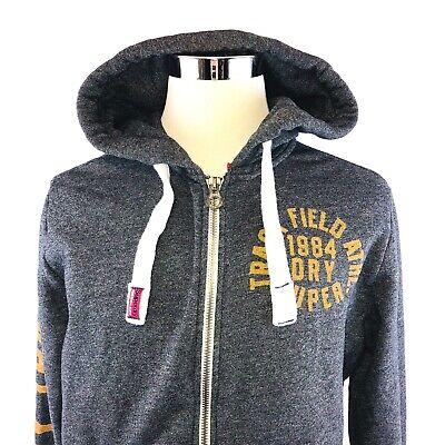 SuperDRY Cotton Blend Fleeced Hoodie Full Zip Trackster Sweatshirt Men Medium