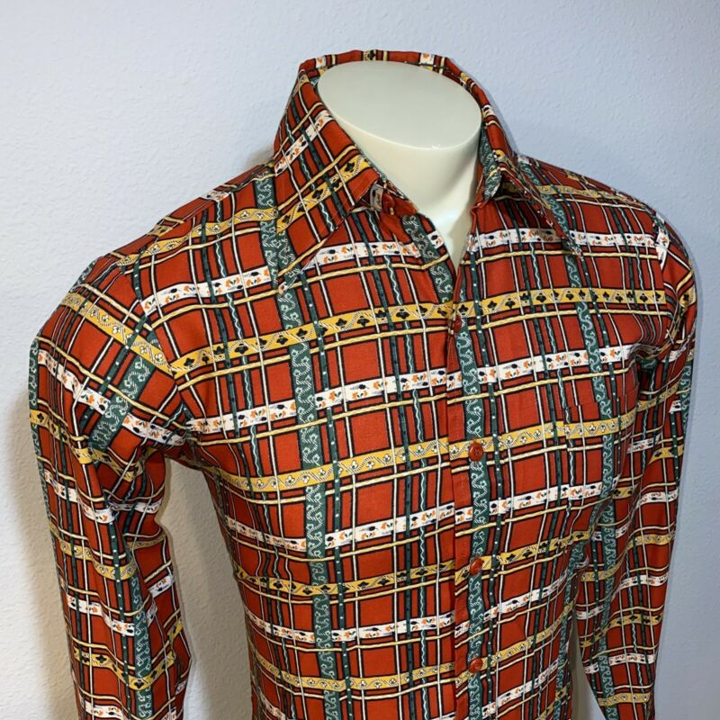 Vtg 60s 70s BRIGADE by Arrow Disco Shirt Woodstock Hippie RED plaid MENS MEDIUM