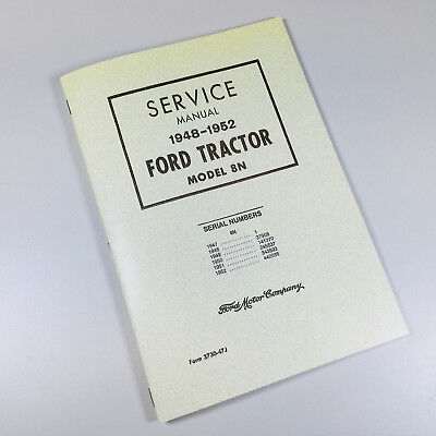 Ford 8n Tractor Service Repair Manual Factory Shop Workshop Chassis 1948-1952