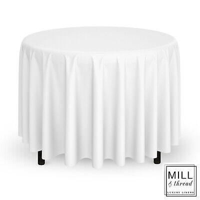 """20 Pack 120"""" Round Wedding Banquet Polyester Fabric Tablecloths - White"""