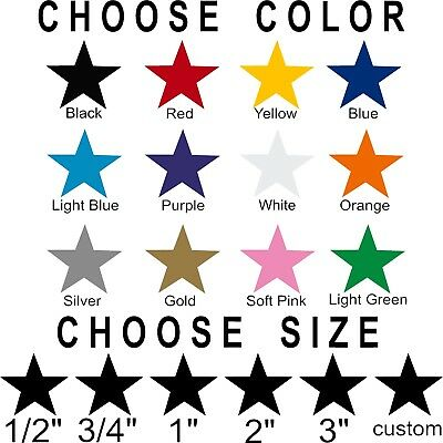 Star stickers! Pick your size and color! Permanent outdoor glossy vinyl decals. - Star Stickers