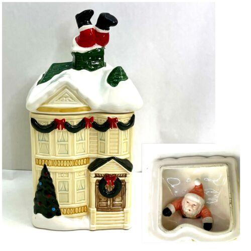 Vintage HOMCO Christmas Cookie Jar Victorian House Santa Stuck in Chimney 1990