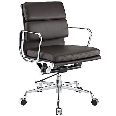 Eames Office Chair Soft Padded Mid Low Back Reproduction Leather Brown
