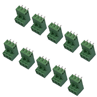 Us Stock 10set 2edg 3p Plug-in Screw Terminal Block Connector 5.08mm Right Angle