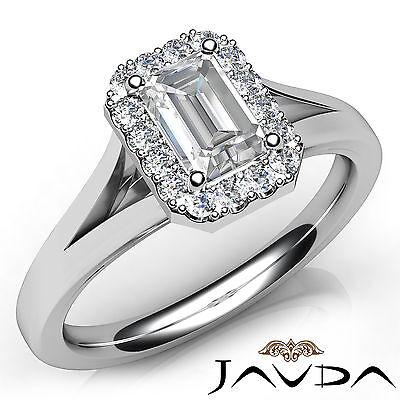 Halo Split Shank French U Pave Emerald Diamond Engagement Ring GIA H VS2 0.92Ct