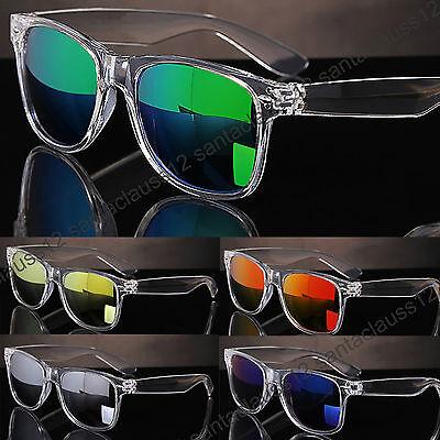 Square Shape Mirror Lens Sunglasses Acrylic Transparent Frame Women's Mens