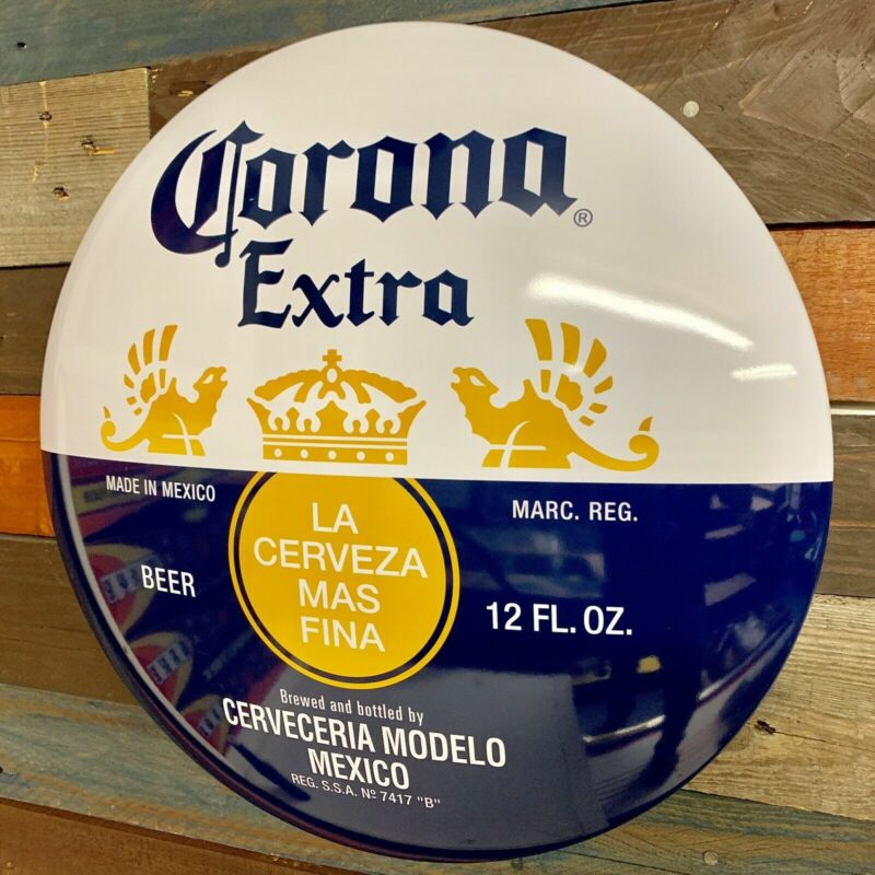 "Corona Dome Round 15"" Metal Sign, Beer Bar Home Man Cave Garage Wall Decor"