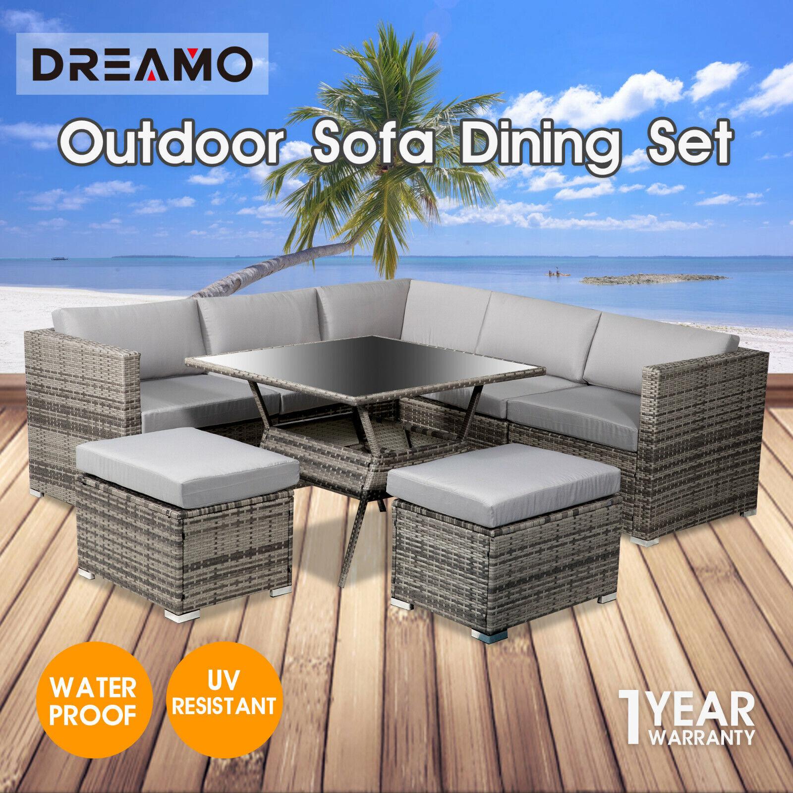 Garden Furniture - 8 Seater Outdoor Dining Furniture Set Wicker Table Chairs Garden