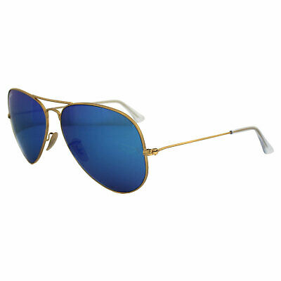 Ray-Ban Sunglasses Aviator 3025 112/17 Matt Gold Blue Mirror Large 62mm