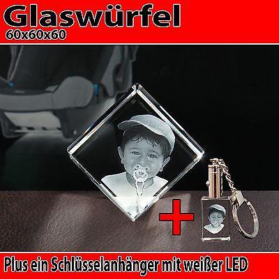 C60 mit LED Schlüsselanhänger Glas 3D Laser Foto Gravur Geschenkidee Geburtstag