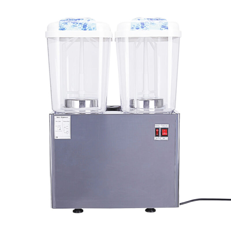Commercial 2-Tank Juice Beverage  Drink Cold  Dispenser Fruit Ice Tea