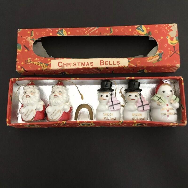 Set (5) Vintage Ceramic Bell Christmas Ornaments Santa Snowman Holiday *READ*