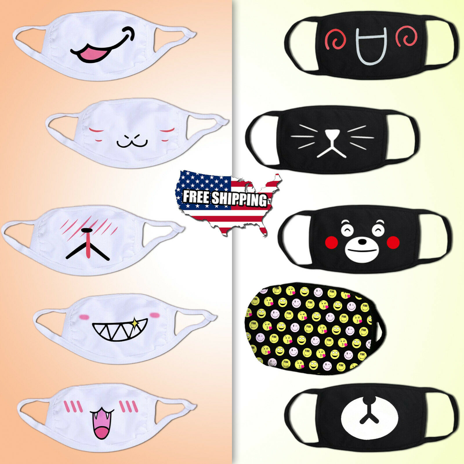 Washable Reusable Cute Face Masks Cartoon Emoji Adult Cotton Cloth Mouth Cover Accessories