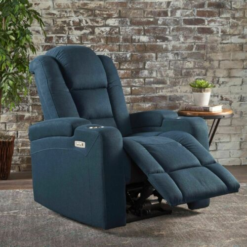 Everette Fabric Power Recliner with Cup Holder, USB Charger,