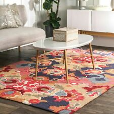 nuLOOM Hand Made Contemporary Floral Abstract Area Rug in ...