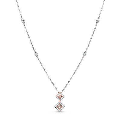 Rosa Diamant - Halskette & Anhänger 0.59ct Natürlich Kostüm Pink 18K - Kostüm Diamant Halskette