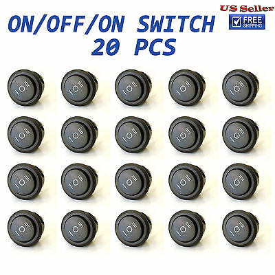 20x Onoffon 3 Position Spdt Round Boat Rocker Switch 10a125v 6a250v
