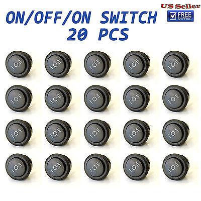 20x Onoffon 3 Position Spdt Round Boat Rocker Switch 10a125v 6a250v