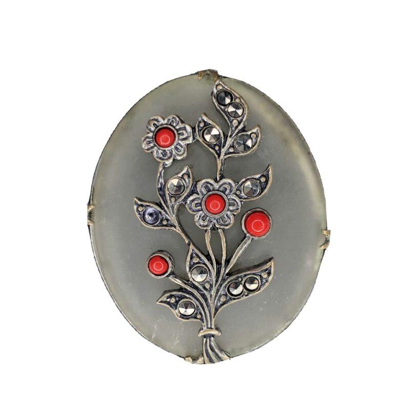 Antique Camphor Glass Brooch Czech Glass Coral Cabochon Marcasite Pin