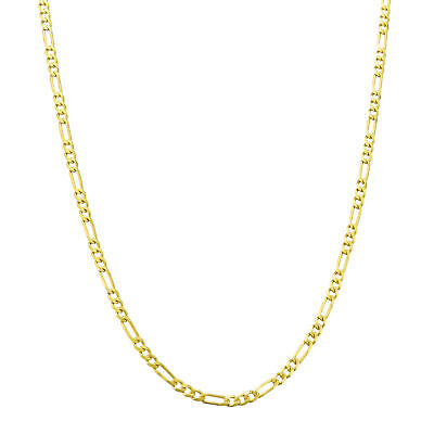 """14K Yellow Gold REAL Womens 2mm Italian Figaro Link Chain Pendant Necklace 18"""""""