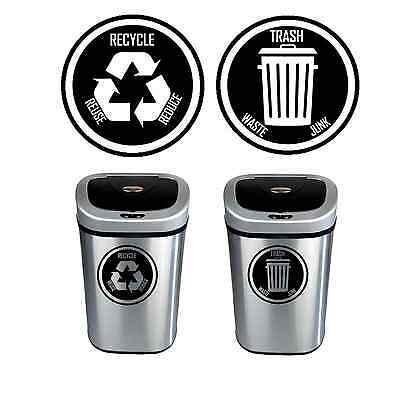 Recycle Trash Cans (Recycle and Trash Decal Sticker for trash cans - Home & Office Use! Choose)