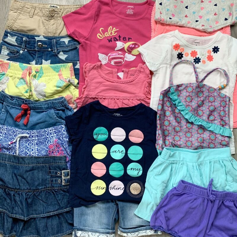 Girls Size 6 Summer Clothes Mix And Match Lot - Tees, Tanks, Shorts, Shirts