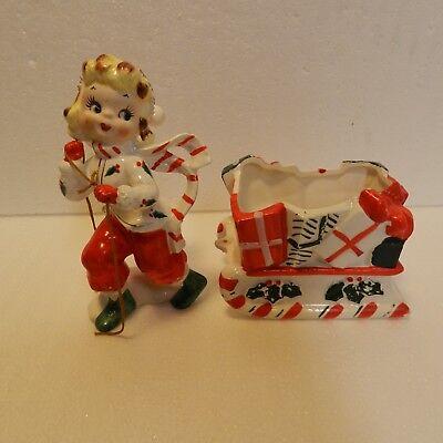VTG 2 Piece UCAGCO set Christmas Girl pulling Sleigh of presents planter, Japan