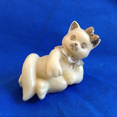 """""""GOLD TRIM"""" CALICO KITTENS by ENESCO 1998 Priscilla Hillman- Ivory with gold"""