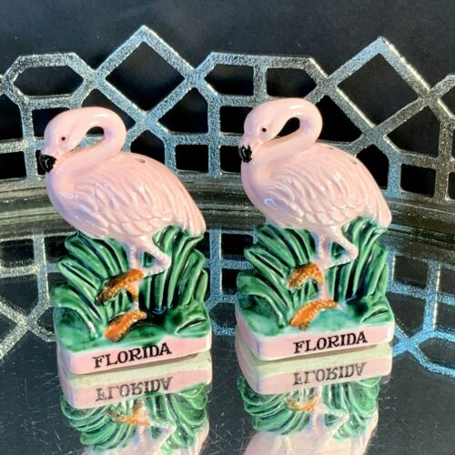 G F Pink Flamingo Salt & Pepper Ceramic Shakers Souvenir Florida Japan #DX