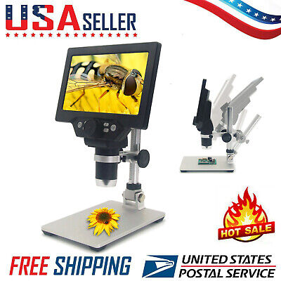 G1200 Digital Microscope 7 Inch Hd 12mp 1-1200x Continuous Zoom Magnifier N6p9