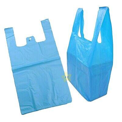 300 x BLUE PLASTIC VEST CARRIER BAGS 11x17x21