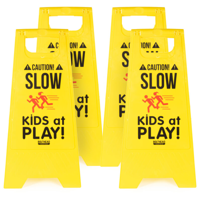 4-pack Caution! Slow Kids at Play! Child Safety & Slow Down Double-Sided Signs